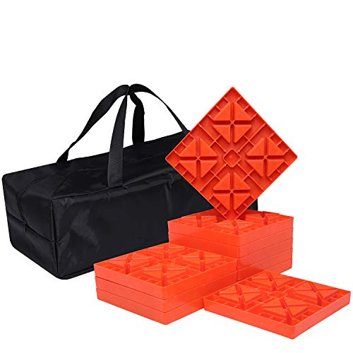 Homeon Wheels Camper Leveling Blocks, Ideal for Leveling Single and Dual Wheels, Heavy Duty Rv Leveling Blocks and Chocks Anti-Slip Pads Design, Camper Levelers 10 Pack with Carrying Bag (WH-101)