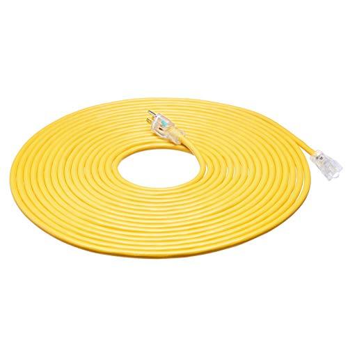 AmazonBasics 12/3 Heavy Duty SJTW Lighted Extension Cord, Yellow, 50 Foot