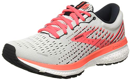Brooks Womens Ghost 13 Running Shoe - Grey/Fiery Coral/White - B - 7