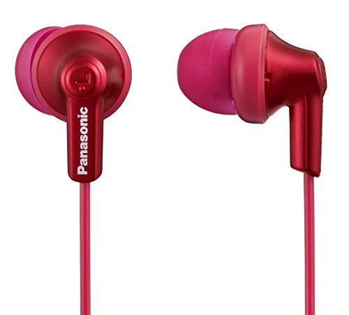 Panasonic ErgoFit Wired Earbuds, RP-HJE120-RA, Comfortable Fit in Ear Headphones with Clear Dynamic Sound, Metallic Red