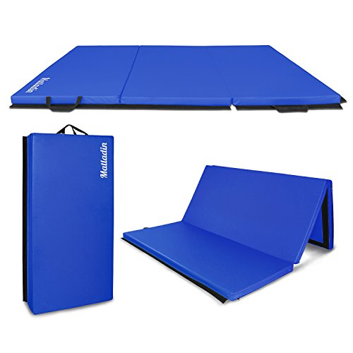Matladin 6' Folding Tri-fold Gymnastics Gym Exercise Aerobics Mat, 6ft x 4ft x 2in PU Leather Tumbling Mats for Stretching Yoga Cheerleading Martial Arts (Blue)