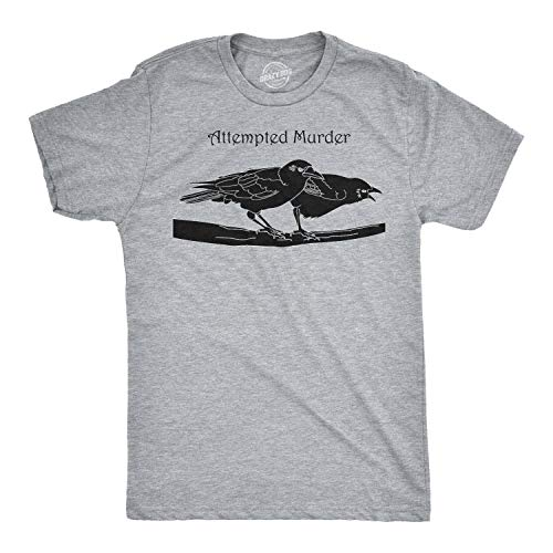 Attempted Murder T Shirt Funny Sarcastic Novelty Graphic Tee Adult Humor Top (Light Heather Grey) - XL
