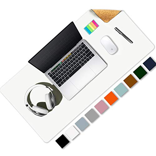 Aothia Office Desk Pad, Eco-Friendly Cork & PU Leather Dual Side Large Mouse Pad, Laptop Desk Table Protector Writing Mat Easy Clean Waterproof for Office Work/Home/Decor (White,31.5' x 15.7')