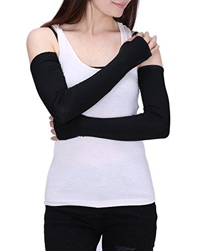 HDE Women Fingerless Long Gloves Thumbhole Arm Warmer Sleeve Elbow Length (Black)
