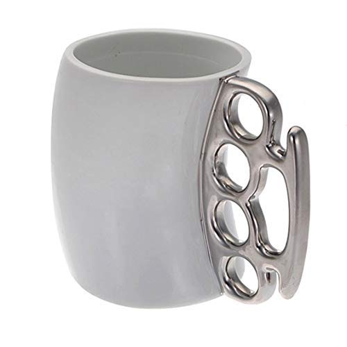 Knuckle Duster Large Mug Fisti Cup Coffee Cup Handle Gift - White