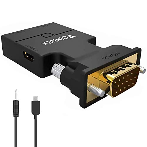 VGA to HDMI Adapter Converter with Audio,(PC VGA Source Output to TV/Monitor with HDMI Connector),FOINNEX Active Male VGA in Female HDMI 1080p Video Dongle adaptador for Computer,Laptop,Projector, TV