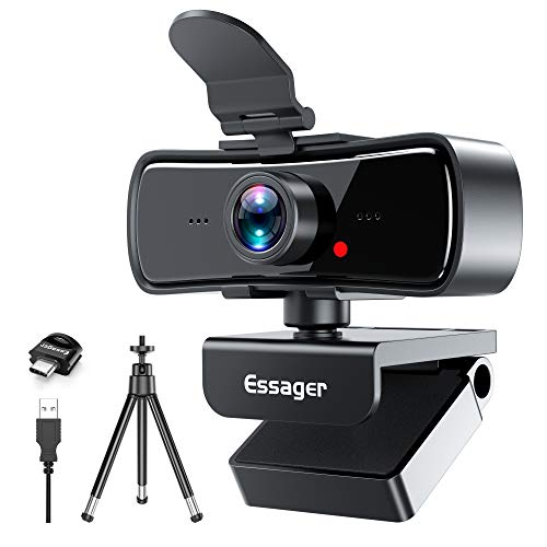1080P Webcam with Microphone,Essager Laptop PC Computer Desktop Web Camera for Streaming/Zoom Meeting/YouTube/FaceTime/Gaming/OBS