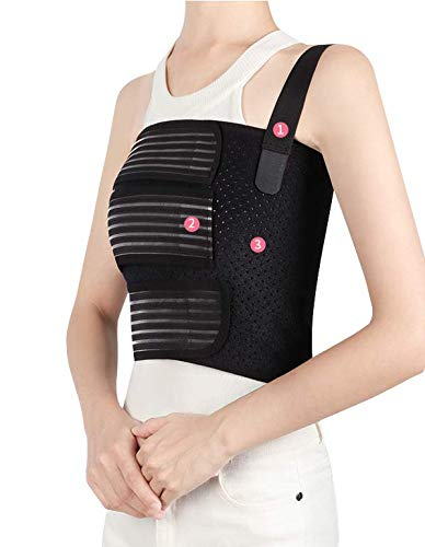 Solmyr Rib Brace Broken Rib Belt, Rib Support Brace for Men and Women, Breathable Chest Wrap Belt for Sore or Bruised Ribs Support, Sternum Injuries, Dislocated Ribs Protection, Pulled Muscle Pain (L)