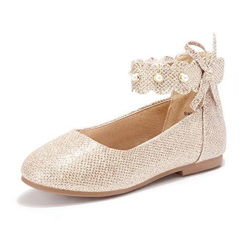 PANDANINJIA Girl's Toddler/Little Kid Sara Bow Ballerina Flats Pearl Scallop Ankle Strap Dress Ballet Flat Shoes (Gold Glitter, 8 M US Little Kid)