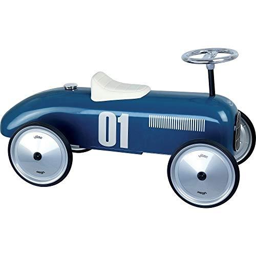 Vilac Vintage Ride On Car, Metal Speedster, Retro. 30' Long - Vintage Blue