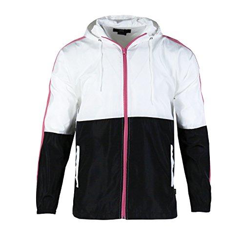 Beautiful Giant Men's Zip up Hooded Lightweight Windbreaker Workout Jacket(L,White/Black)