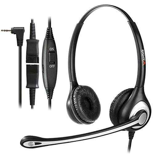 Wantek Wired Telephone Headset Dual Ear with 2.5mm Jack, Noise Cancelling Mic, Quick Disconnect, Work for Cordless Phones AT&T ML17929 TL86103 Panasonic KX-DT543 KX-T7730 Vtech RCA Cisco (602QJ25)