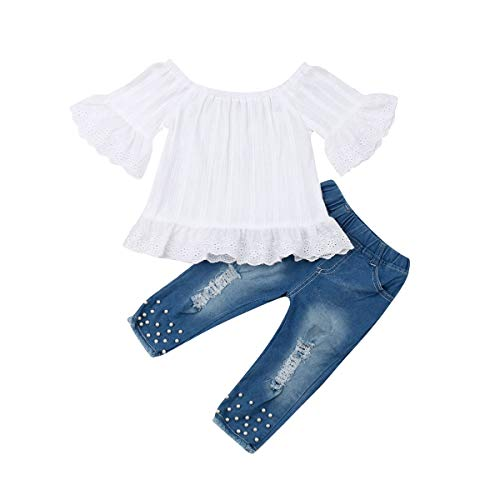 Toddler Kids Clothing Baby Girls Vest Tank Top Ripped Denim Shorts Skirts Outfits Clothes Set (4-5 Years, White)
