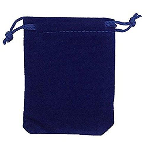 KUPOO 50 Pieces Wholesale Lot - Royal Blue Velvet Cloth Jewelry Pouches / Drawstring Bags 3' X 4'