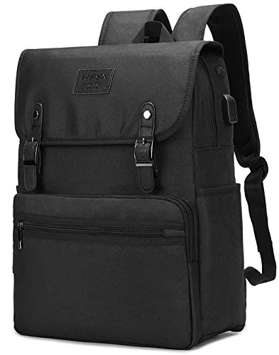 HFSX Backpack Bookbags Laptop Backpack for Women Men Vintage Backpack College Backpack Travel Bookbag Laptop Bookbags with USB Charging Port Black Backpacks Fits 15.6 inch Notebook