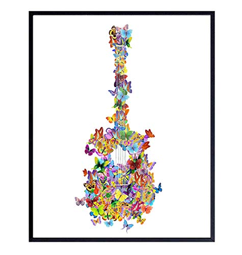 Butterfly Guitar Wall Art for Women, Teens, Girls, Musicians - Room Decor for Bedroom, Living Room, Home Office - Gift for Music Fans, Guitar Player - Butterflies Poster Print - 8x10 UNFRAMED