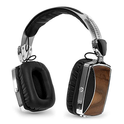 Victrola Wood and Chrome Rechargeable Bluetooth Headphones, Walnut (VSG-160)