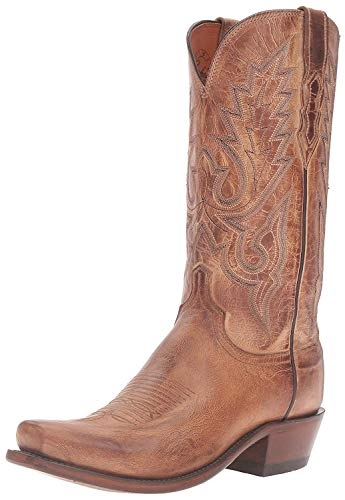 Lucchese Bootmaker Men's Lewis Mad Dog Goat Riding Boot, Tan Burnish, 11.5 D US