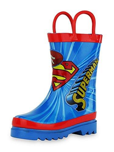 DC Comics Superman Boy's Rain Boots - Size 3 Little Kid Blue and Red