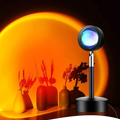 Sunset Lamp Projector, Sunset Projection Lights 180° Rotation with USB Warm Romantic Visual Night Decorative for Photo, Vlog, Background, Bedroom, Living Room, Photo Album Wall, Home Indoor Party