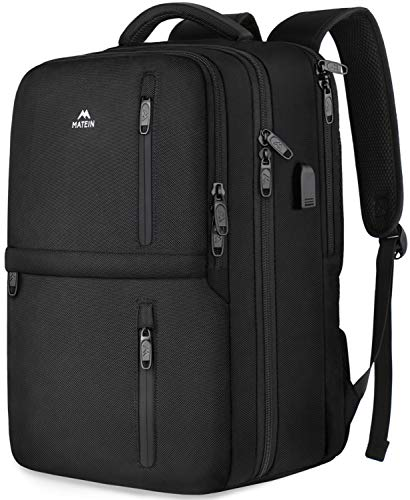 Carry On Backpack, Flight Approved Travel Luggage Backpack with Shoe Compartment for Women Men,Matein Water Resistant Anti-Theft Business College Computer Bookbag Fit 15.6 inch Notebook,Black