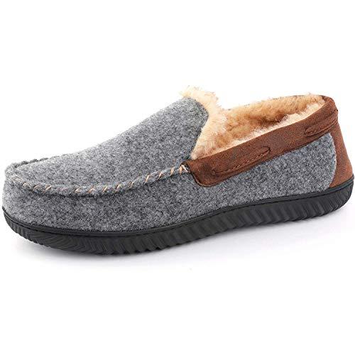 RockDove Men's Hearthfire Memory Foam Moc Slipper, Size 12 US Men, Charcoal
