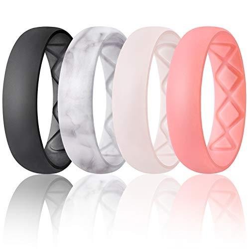 Egnaro Inner Arc Ergonomic Breathable Design, Silicone Wedding Ring for Women, Half Sizes Available, Women's Silicone Wedding Band