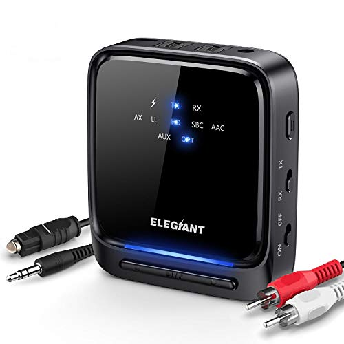 [Upgraded] ELEGIANT Bluetooth 5.0 Transmitter Receiver for TV Home Stereo System LED Wireless Audio Adapter APTX Low Latency Built-in Mic, Pair 2 Headphones at Once, Optical TOSLINK / 3.5mm AUX / RCA