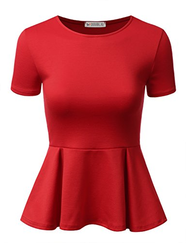 Doublju Stretchy Flare Peplum Blouse Tops for Women with Plus Size RED Medium