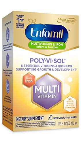 Enfamil Poly-Vi-Sol with Iron Multivitamin Supplement Drops for Infants and Toddlers, 50 mL dropper bottle (Packaging May Vary)