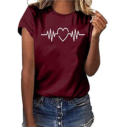 Women ECG Print Plus Size Solid Color Shirt Short Sleeve T-Shirt Blouse Tops Wine