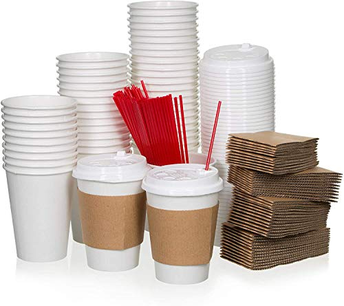 Safeware 12 oz [ 100 Set] Togo Disposable White Paper Coffee Cups with Lids, Sleeves, and Stirrers   Hot Beverages   Expresso   Tea   Coffee   Latte   Hot Chocolate