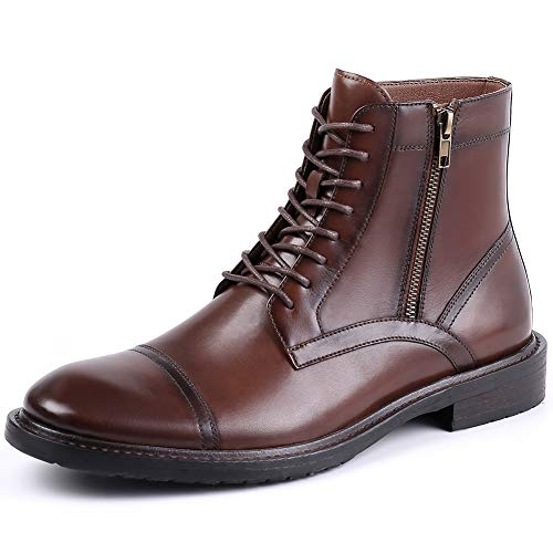 Viscozzy Cap Toe Dress Boots for Men Brown Genuine Leather Lace Up Boots Casual, Mens Brown Combat Motorcycle Ankle Boots HAVAL08-BROWN-10.5