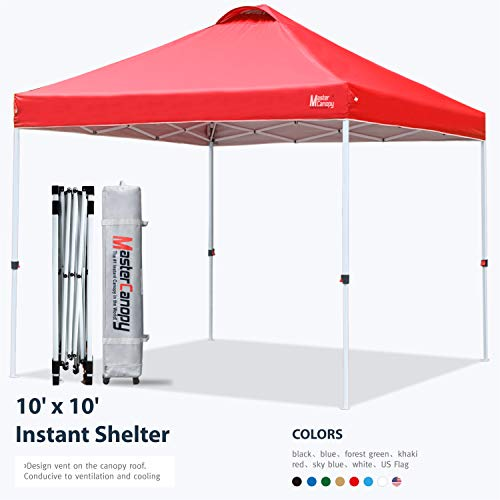MASTERCANOPY Pop-up Canopy Tent Commercial Instant Canopy with Wheeled Bag,Canopy Sandbags x4,Tent Stakesx4 (10x10, Red)