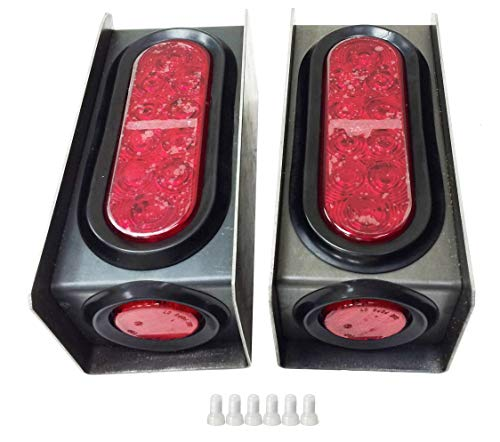 2 Steel Trailer Light Boxes w/6' LED Oval Tail Lights & 2' LED Red Round Side Lights w/Wire connectors