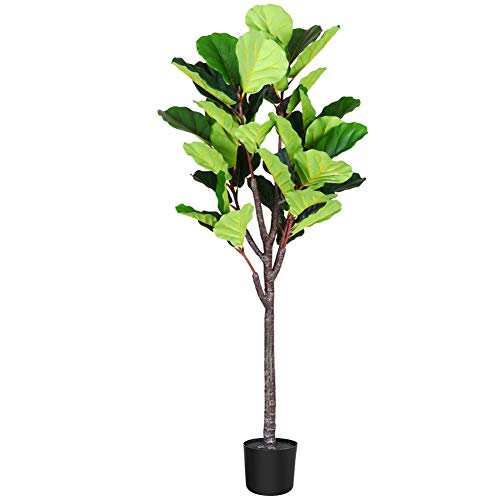 Fopamtri Artificial Fiddle Leaf Fig Tree 5.3 Feet Fake Ficus Lyrata Plant with 57 Leaves Feaux Plant for Indoor Outdoor Fake Plants in Pot for Home Office Perfect Housewarming Gift (1 Pack)