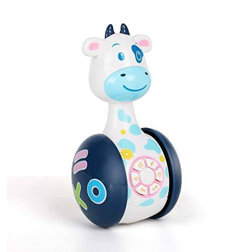 YUANLEBAO Baby Toys-Cows Tumbler Toy with Music and LED Light,Baby Crawling Toys,Cute Rattles Ring Bell Toddler Interactive Learning Development for Baby Cow Toys and Best Gifts(Cow)