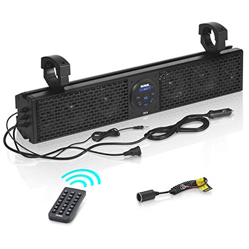 Sound Storm Laboratories SB18 UTV Sound Bar System - 18 Inch Wide, Weatherproof IPX5 Rated, Bluetooth, Amplified, 4 Inch Speakers, 1 Inch Horn Loaded Tweeters, Easy Installation for 12 Volt Vehicles