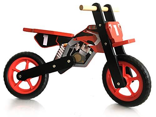 london-kate Kids Wooden Balance Bike - No Pedal Push Bike - Motorbike Style. Boys Training Bike for Toddlers and Kids