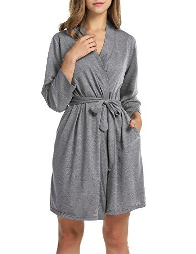 Hotouch Women's Kimono Robes Cotton Lightweight Bath Robe Soft Sleepwear V-Neck Ladies Nightwear Heather Gray M