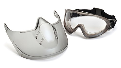Pyramex Safety Products Direct/Indirect-Gray Frame/Clear Anti-Fog Lens woth faceshield attachment