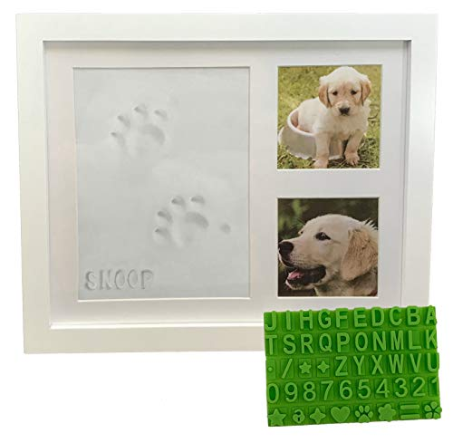 Ultimate Dog or Cat Pet Pawprint Keepsake Kit & Picture Frame - Premium Wooden Photo Frame, Clay Mold for Paw Print & Free Bonus Stencil. Makes a Personalized Gift for Pet Lovers and Memorials-White