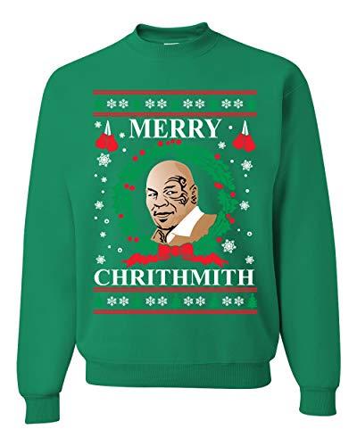 Merry Chrithmith Mike Tyson Ugly Christmas Sweater Unisex Crewneck Sweatshirt, Kelly, X-Large