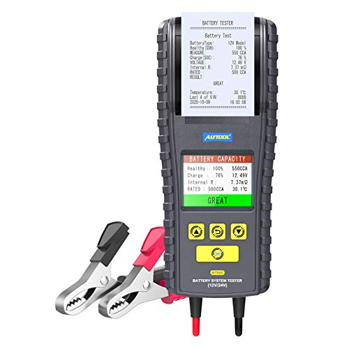 BT-860 Car Battery Load Tester with Printer and Temperature Monitoring, Trucks Automotive 12V/24V 100-2000 CCA Battery Analyzer for Cranking Charging System