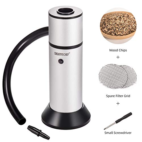 TMKEFFC Portable Smoker Gun, Handheld Smoke Infuser for Cocktail Food Drink Smoking, Enhance Taste for Meat, Sous Vide Steak, Grill, BBQ, Popcorn, Cheese, Wood Chips Included, Silver