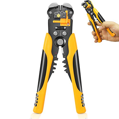 Wire Stripping Tool, 10-24 AWG Self Adjusting Cable Wire Cutters Stripper Crimper Crimping 3 in 1, Automatic Tool for Electricians
