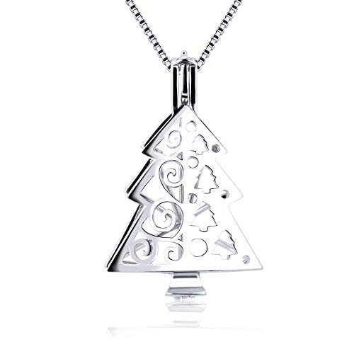 Cerylle 925 Sterling Silver Christmas Pendant Design Pearl Cage Locket Pendants for Women Jewelry Making for Oyster Pearls, Essential Oil Diffuser, Jewelry Gifts