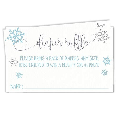 Winter Boy Snowflake Baby Shower Diaper Raffle Ticket Diaper Wipes Raffle Ticket Insert Request Prize Snowy Blue Grey Gray Silver Glittery Shimmery Glimmery Shimmer Glitter Snow (25 Count)