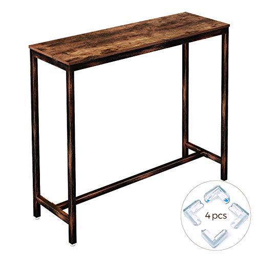 Rolanstar Rustic Bar Table Narrow, 47.2' Pub Dining High Table Bistro Table with Metal Frame (Indoor Use Only),BT001-A
