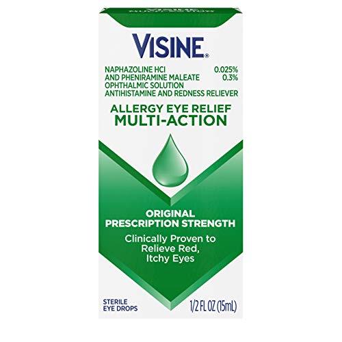 Visine Allergy Eye Relief Multi-Action Antihistamine & Redness Reliever Eye Drops with Pheniramine Maleate & Naphazoline HCl, Eye Drop Treatment for Red, Itchy, Allergy Eyes, 0.5 fl. oz